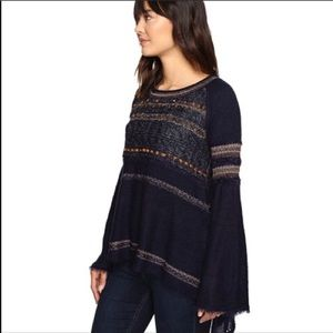Free People Navy Bell Sleeve Sweater size small